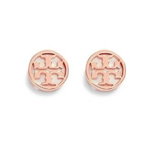 NEW Tory Burch Rose Gold Circle Logo Stud Earrings
